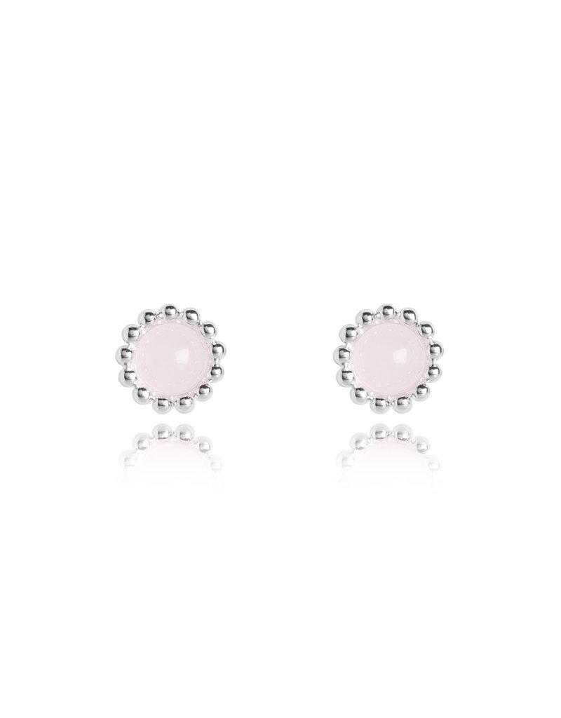 Katie Loxton KLSS - Love Studs - Silver Earrings with Rose Quartz Stones