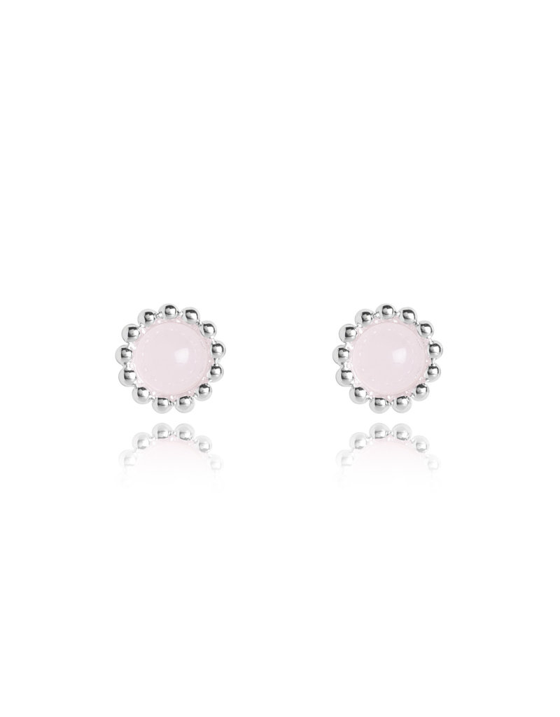 Katie Loxton KLSS - Love Studs - Silver Earrings with Rose Quartz Stones