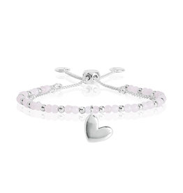 Katie Loxton KLSS - Love Bracelet - Silver with Rose Quartz Stones