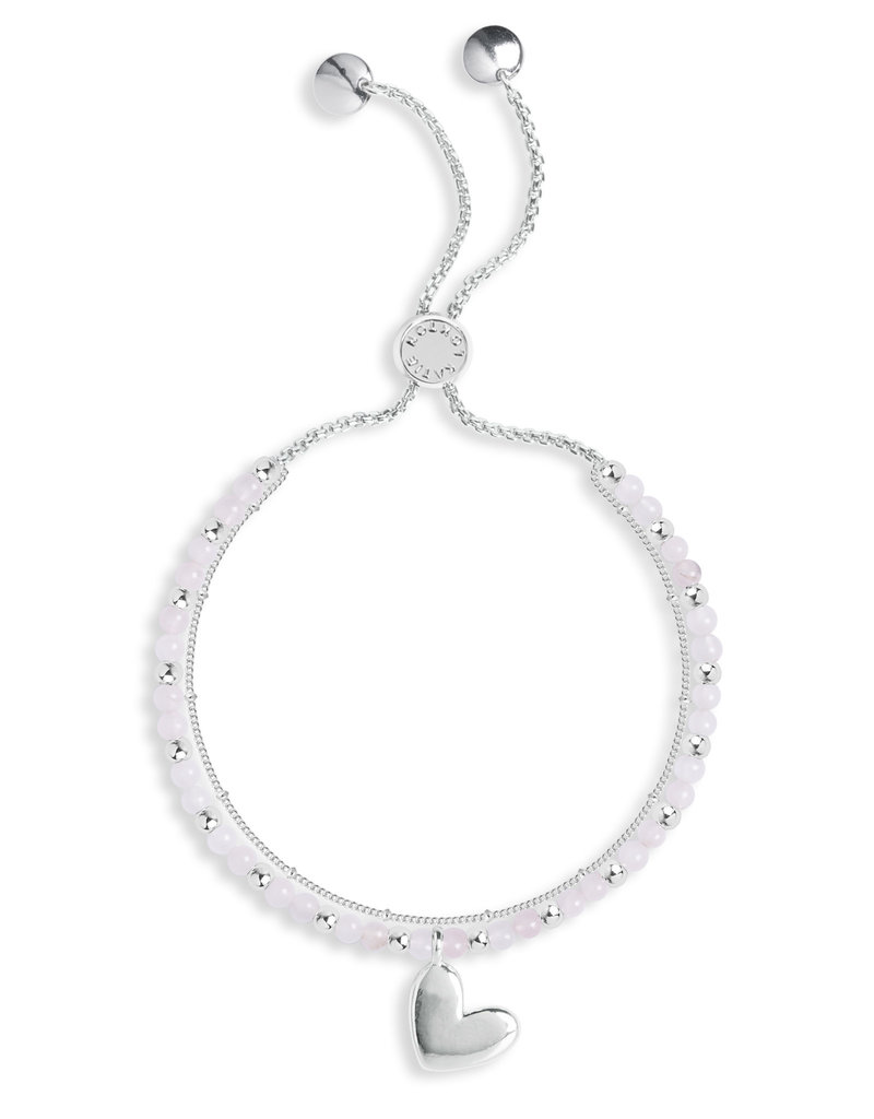 Katie Loxton KLSS - Love Bracelet - Silver with Rose Quartz Stones