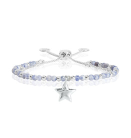 Katie Loxton KLSS - Friendship Bracelet - Silver with Blue Lace Agate Stones