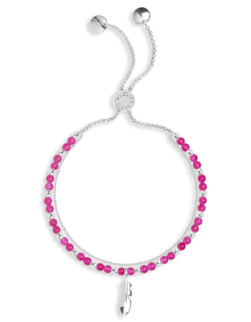 Katie Loxton KLSS - Happiness Bracelet - Silver with Fuchsia Agate Stones