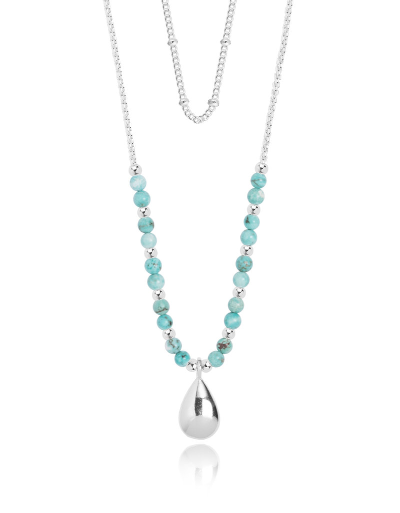 Katie Loxton KLSS - Free Spirit Necklace - Silver with Turquoise Stones Adjustable