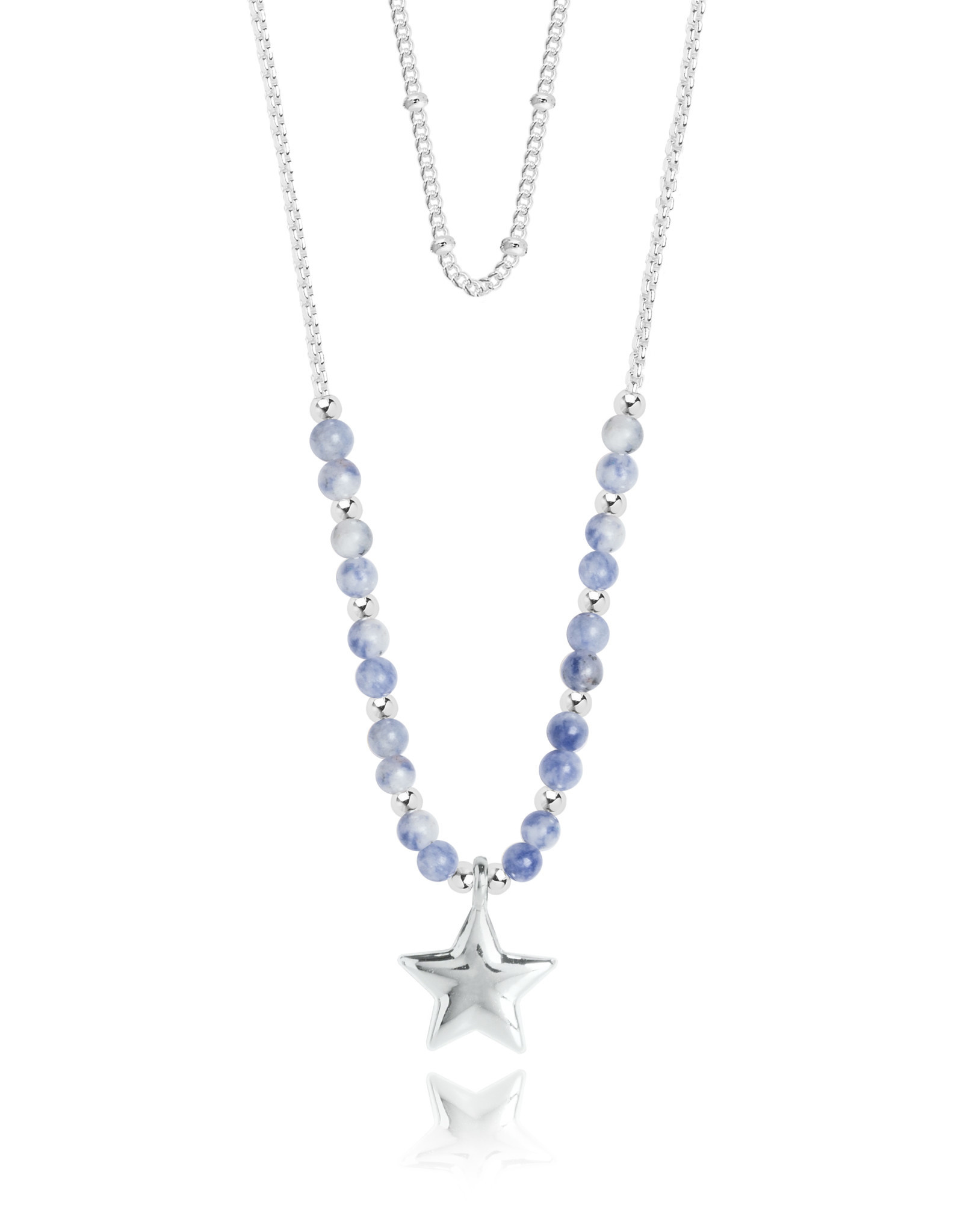 Katie Loxton KLSS - Friendship Necklace - Silver with Blue Lace Agate Stones Adjustable