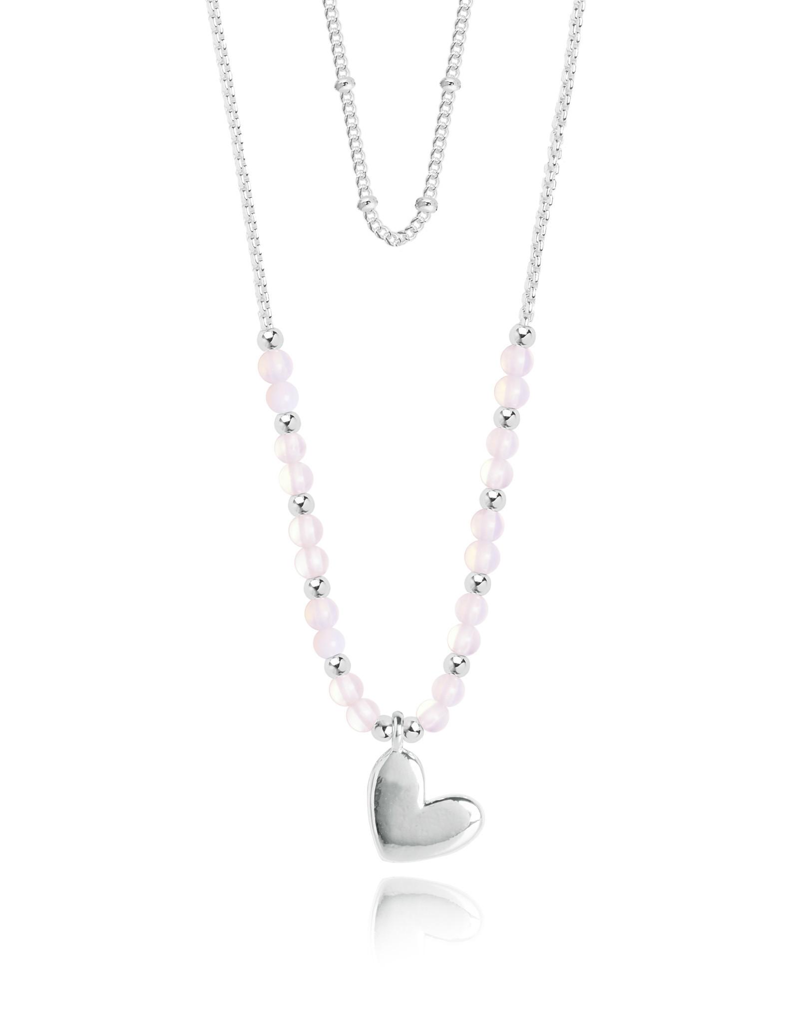 Katie Loxton KLSS - Love Necklace - Silver with Rose Quartz Stones Adjustable