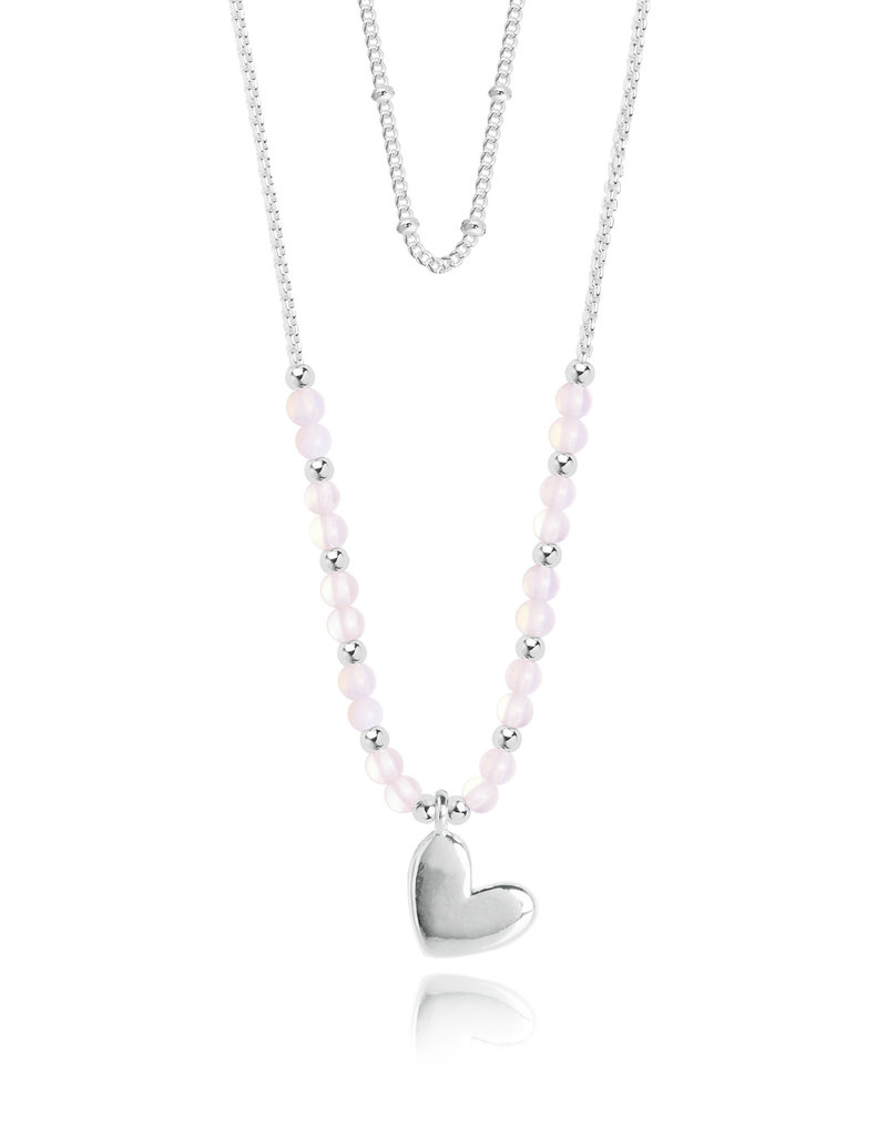 Katie Loxton KLSS - Love Necklace - Silver with Rose Quartz Stones Adjustable
