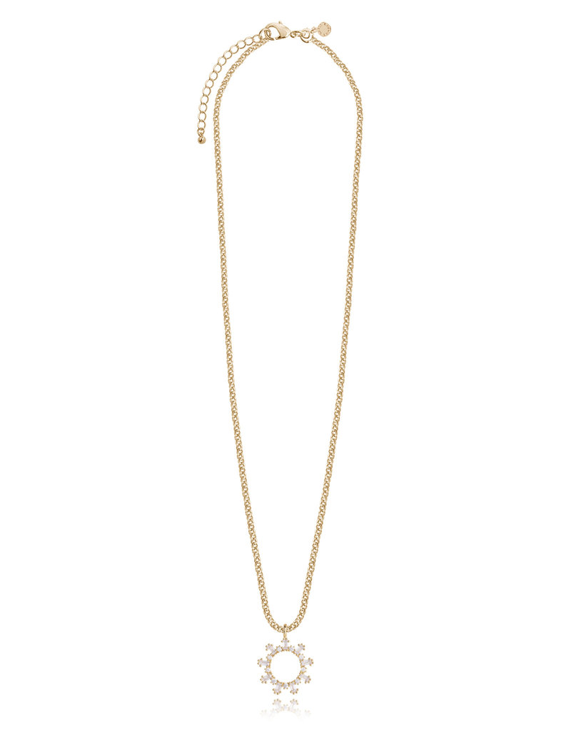 Katie Loxton KLRadiance - Necklace Baguette and round CZ - Yellow/Gold Plated 46cm