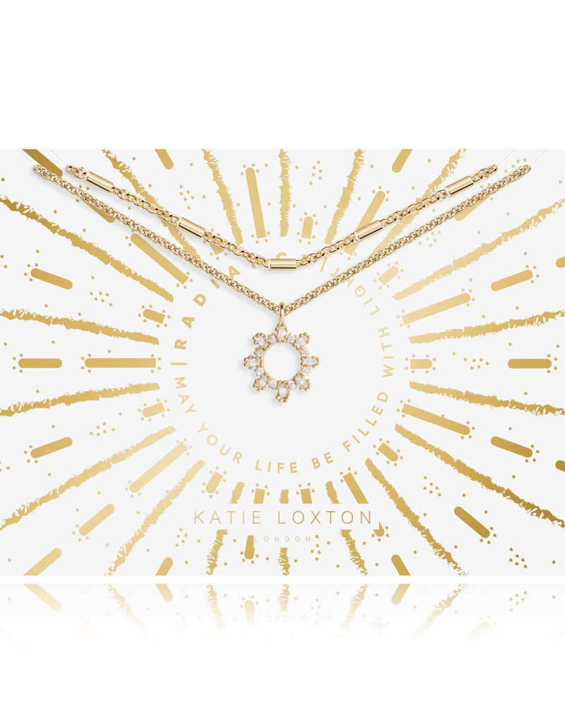 Katie Loxton KLRadiance - Double Chain Necklace Baguette and round CZ - Yellow/Gold Plated 42cm