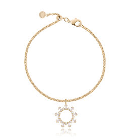 Katie Loxton KLRadiance - Bracelet Baguette and round CZ - Yellow/Gold Plated 19 cm sliding extender