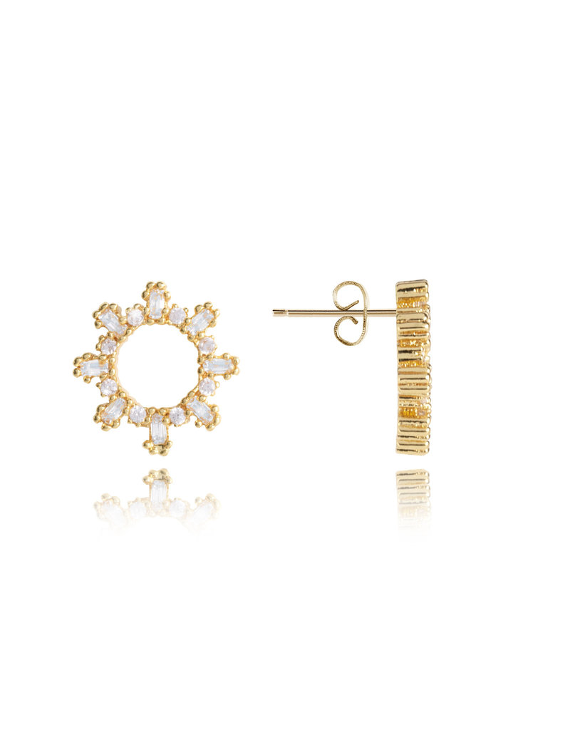 Katie Loxton KLRadiance - Stud Earrings Baguette and round CZ - Yellow/Gold Plated