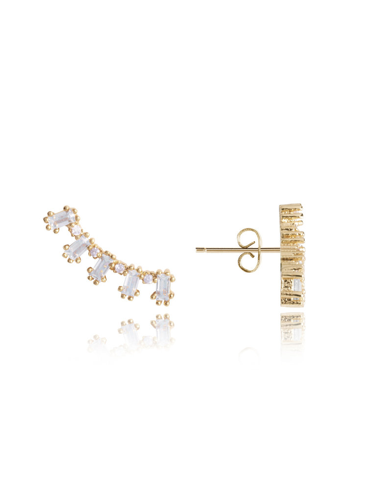 Katie Loxton KLRadiance - Ear Crawler Earring Baguette and round CZ - Yellow/Gold Plated