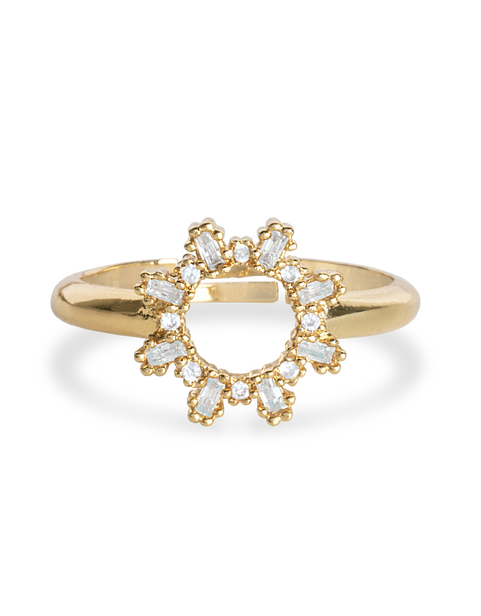 Katie Loxton KLRadiance - Ring Baguette and round CZ - Yellow/Gold Plated - Adjustable Size M