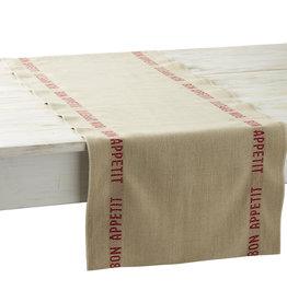 """Charvet Editions Charvet Edition - Table Runner Bon Appetit Red/Rouge - 62"""" x 17"""""""
