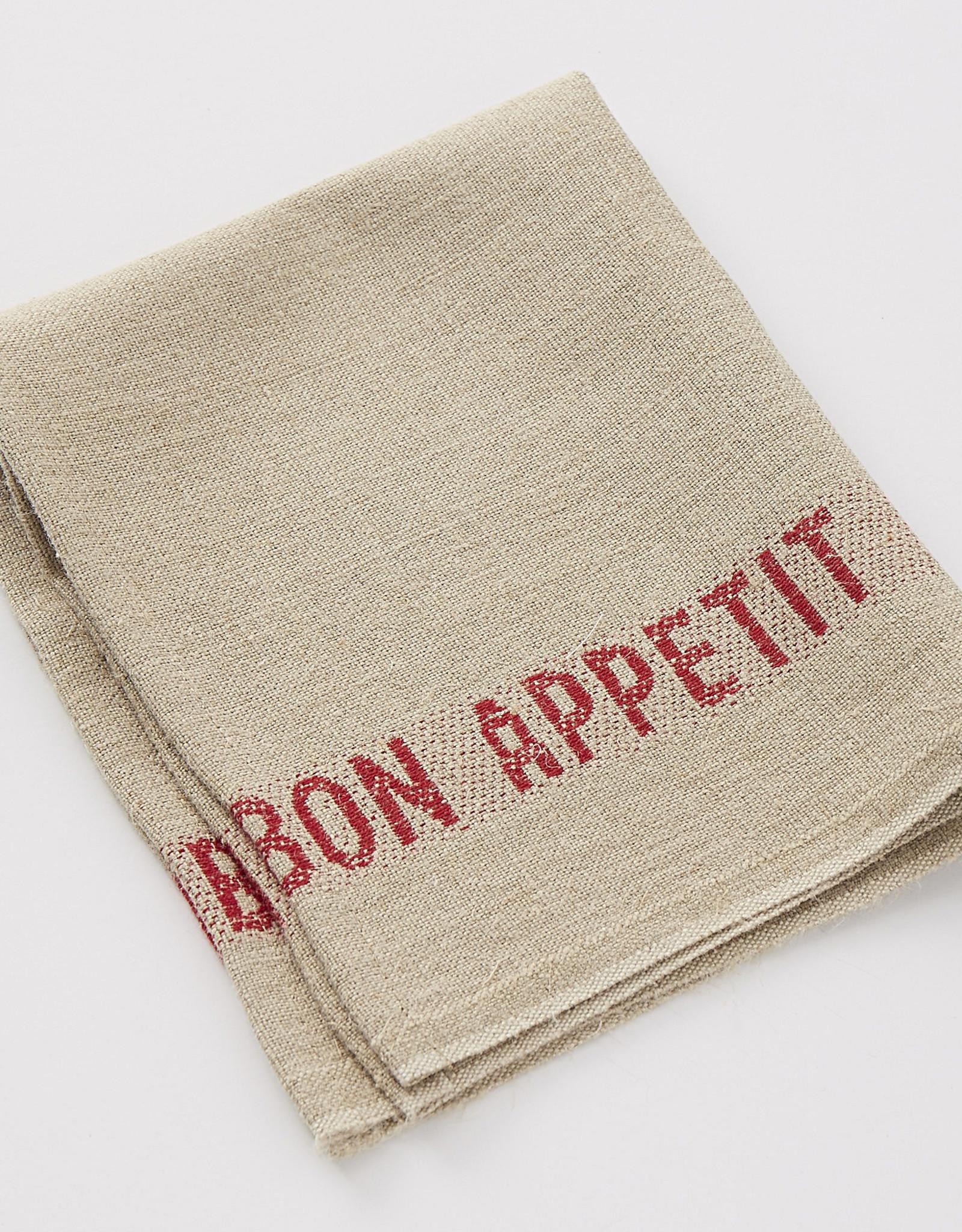 "Charvet Editions - Napkin/Placemat Bon Appetit Natural/Red 17""x13"""