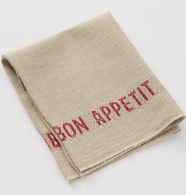 "Charvet Editions - Napkin/Placemat Bon Appetit Natural/Red 17""x13"""