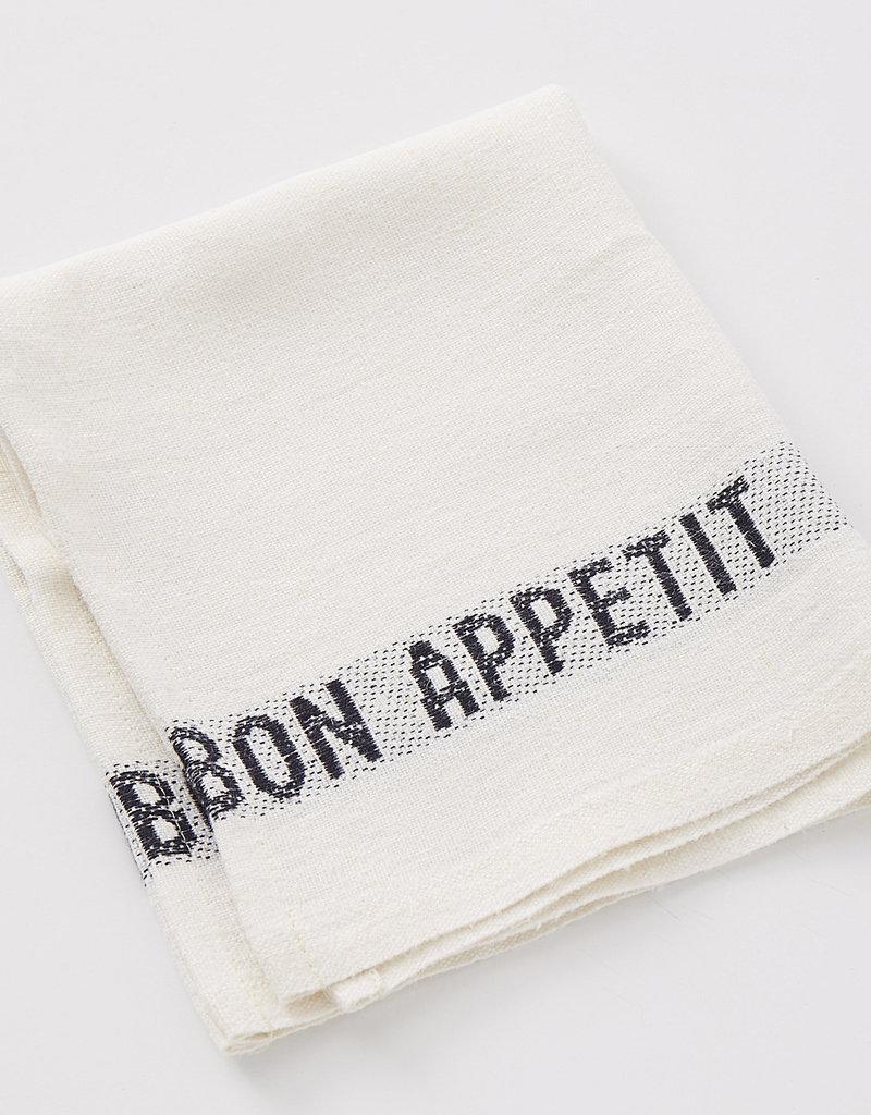 "Charvet Editions - Napkin/Placemat Bon Appetit White/Black 17""x13"""