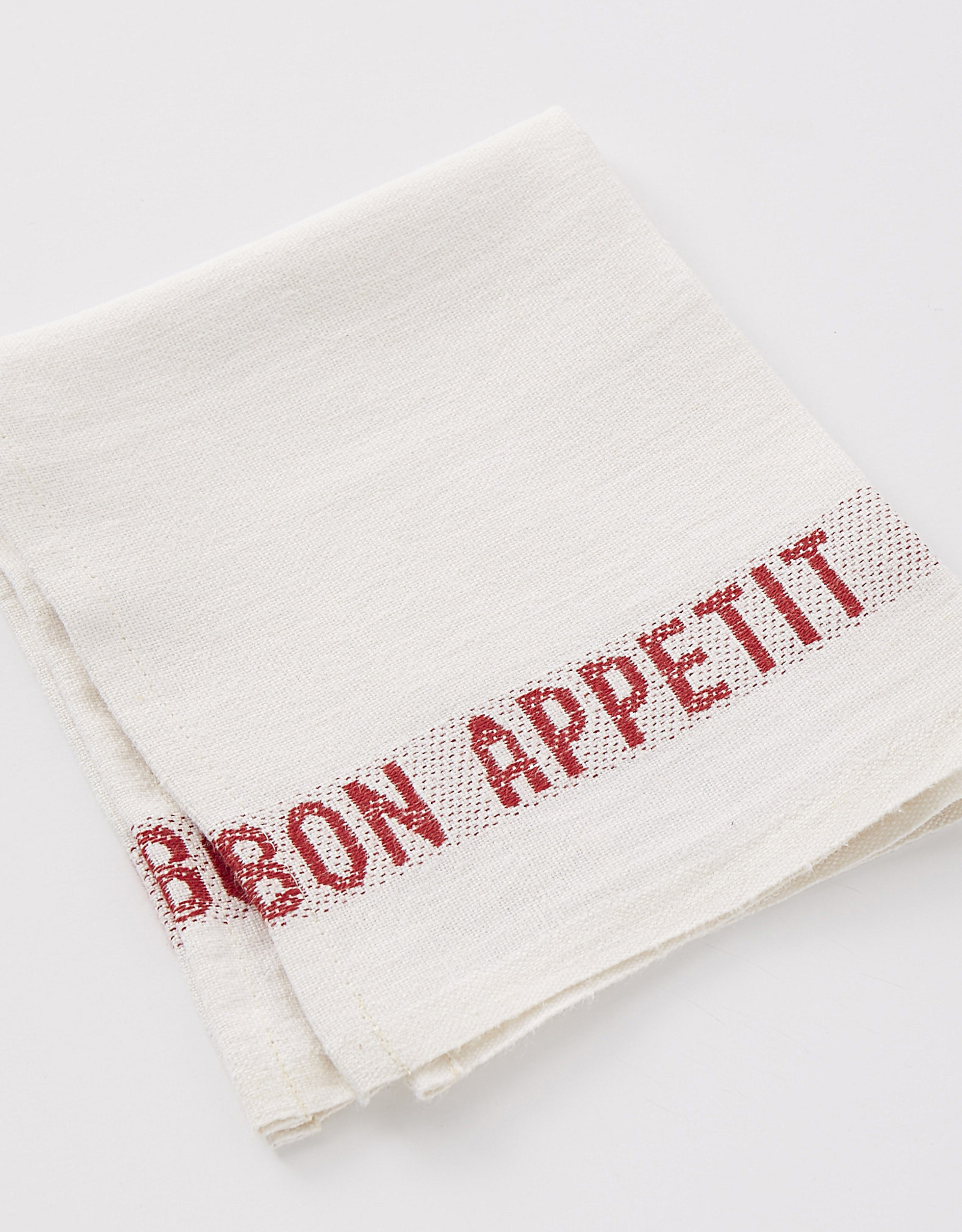 "Charvet Editions - Napkin Placemat Bon Appetit White/Red- 17""x13"""