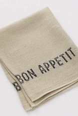 "Charvet Editions - Napkin/Placemat Bon Appetit Natural/Black 17""x13"""