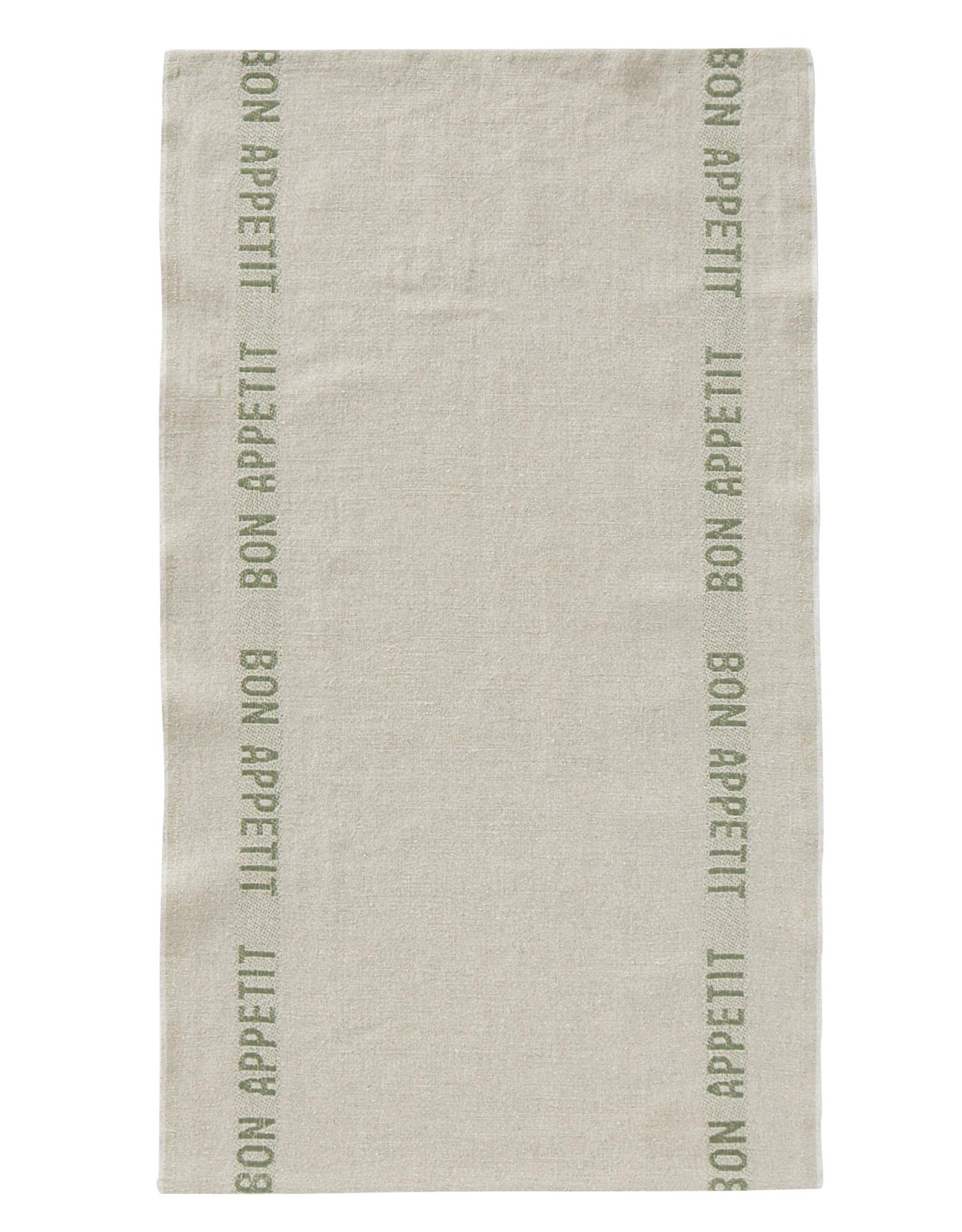 "Charvet Editions - Bon Appetit Tea towel - Natural/Khaki 18"" x 30"""