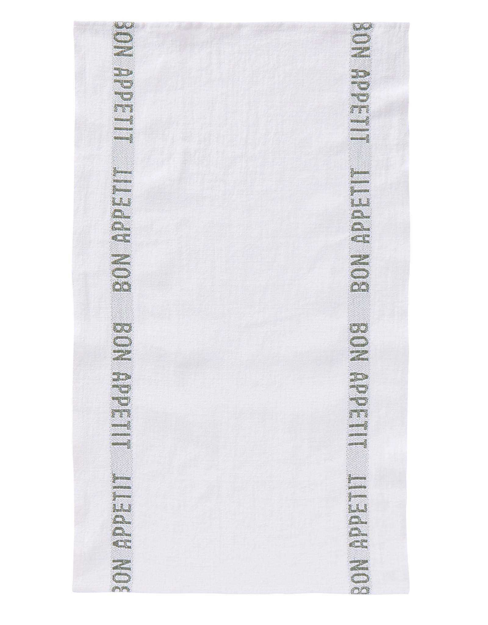 """Charvet Editions - White/Khaki Bon Appetit Tea towel -18""""x30"""""""