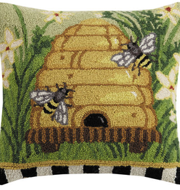 "Bees Please Hook Pillow - 18"" x 18"""