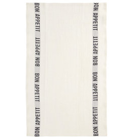 "Charvet Editions - White/Black Bon Appetit Tea towel 18""x30"""