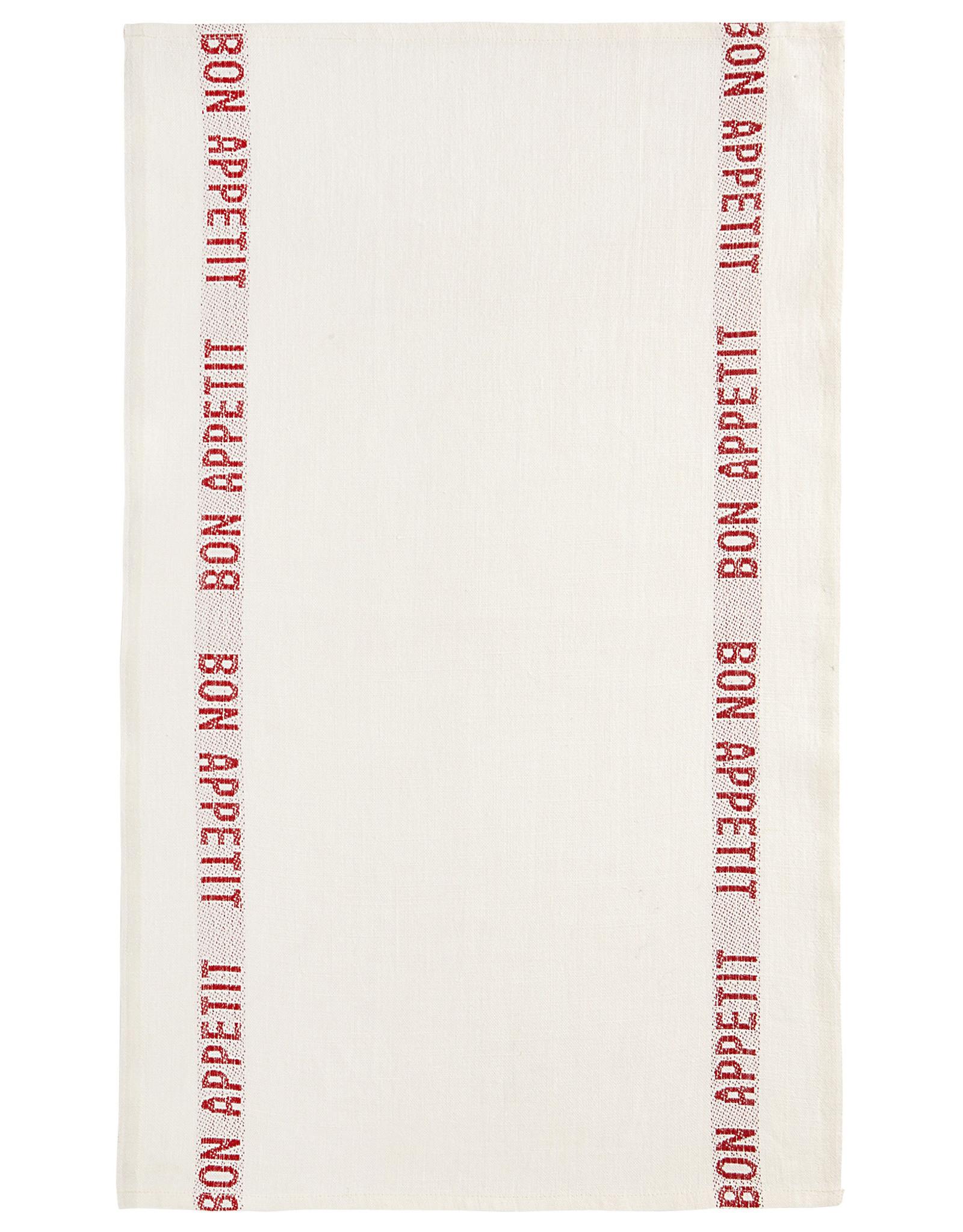 "Charvet Editions - White/Red Bon Appetit Tea towel - 18""x30"""