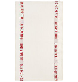 "Charvet Editions - White/Red Bon Appetit Tea towel - 18""x30"""