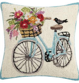 "Spring Bike Hook Pillow - 18"" x 18"""