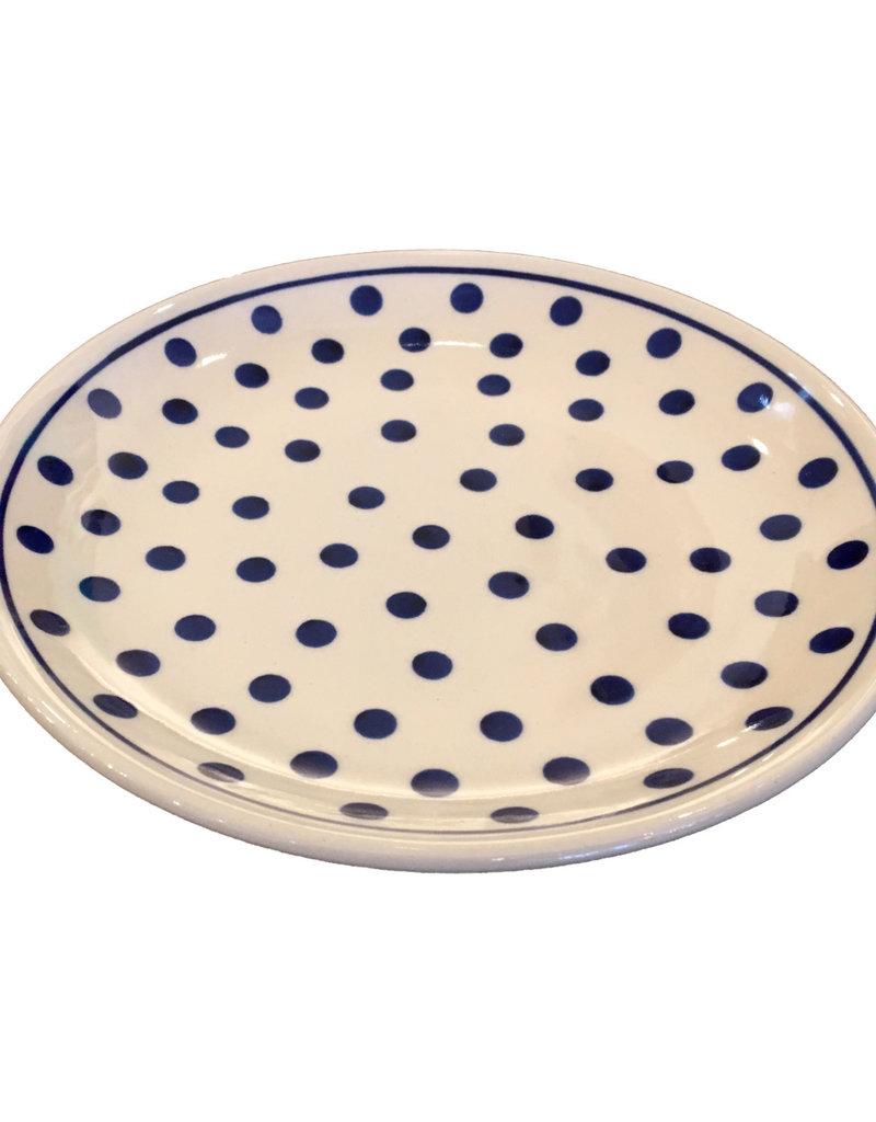 Salad Plate - White/Blue Dots White Rim