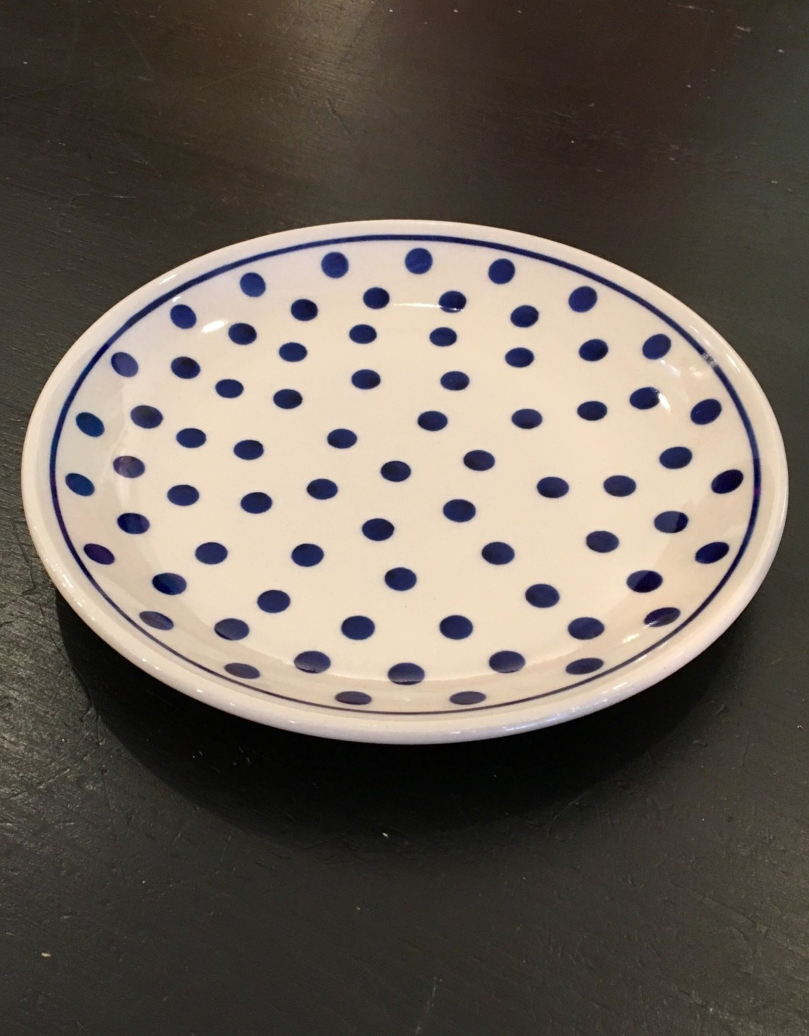 Salad Plate - White/Blue Dots White Rim