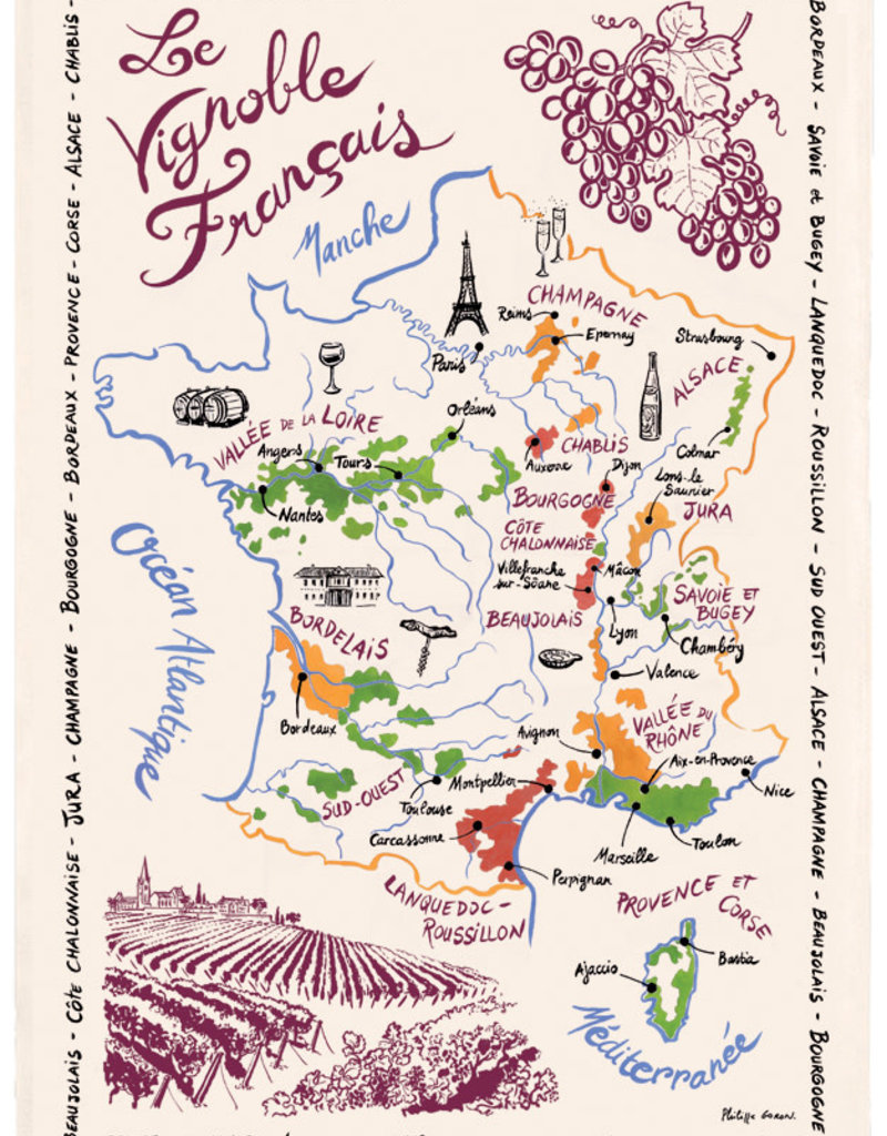 42F French Wine Map Dish Towel