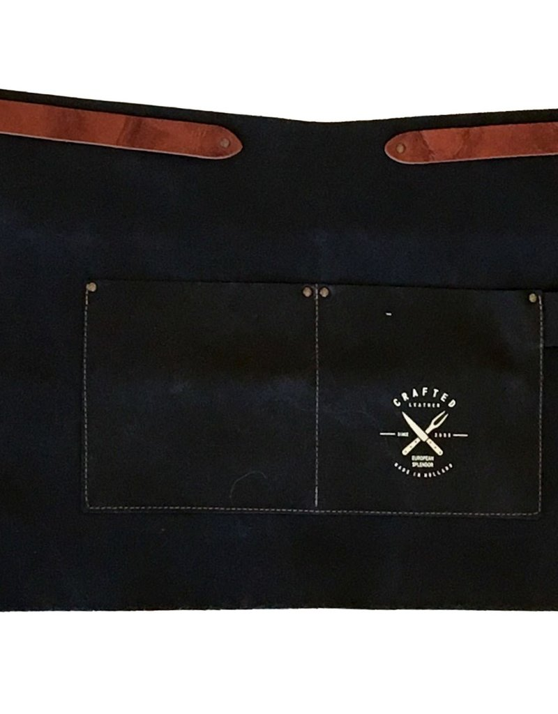 Crafted Leather By European Splendor Black - Crafted Leather Vintage Half Apron