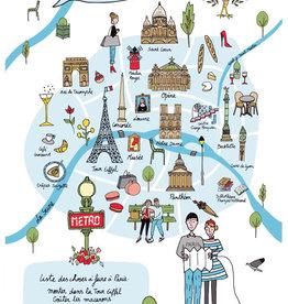 42F Distribution Paris Map Dish Towel