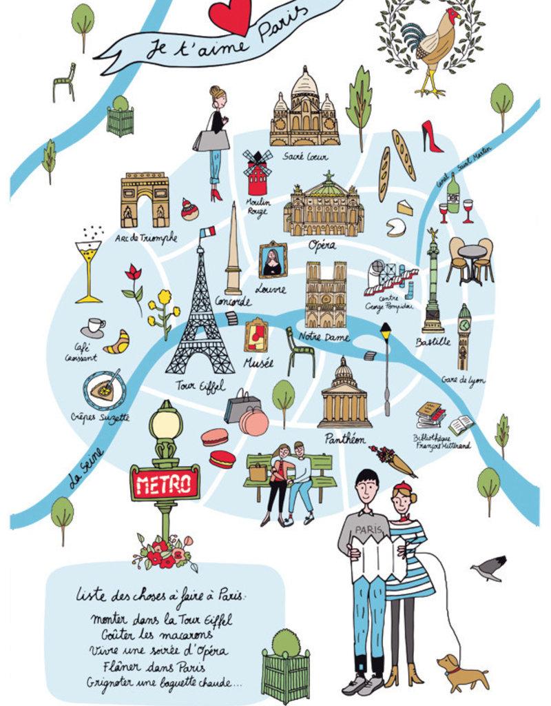 42F Paris Map Dish Towel