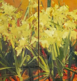 "Field of Irises - Oil on Canvas. 30"" x 60"" Ewa Perz"