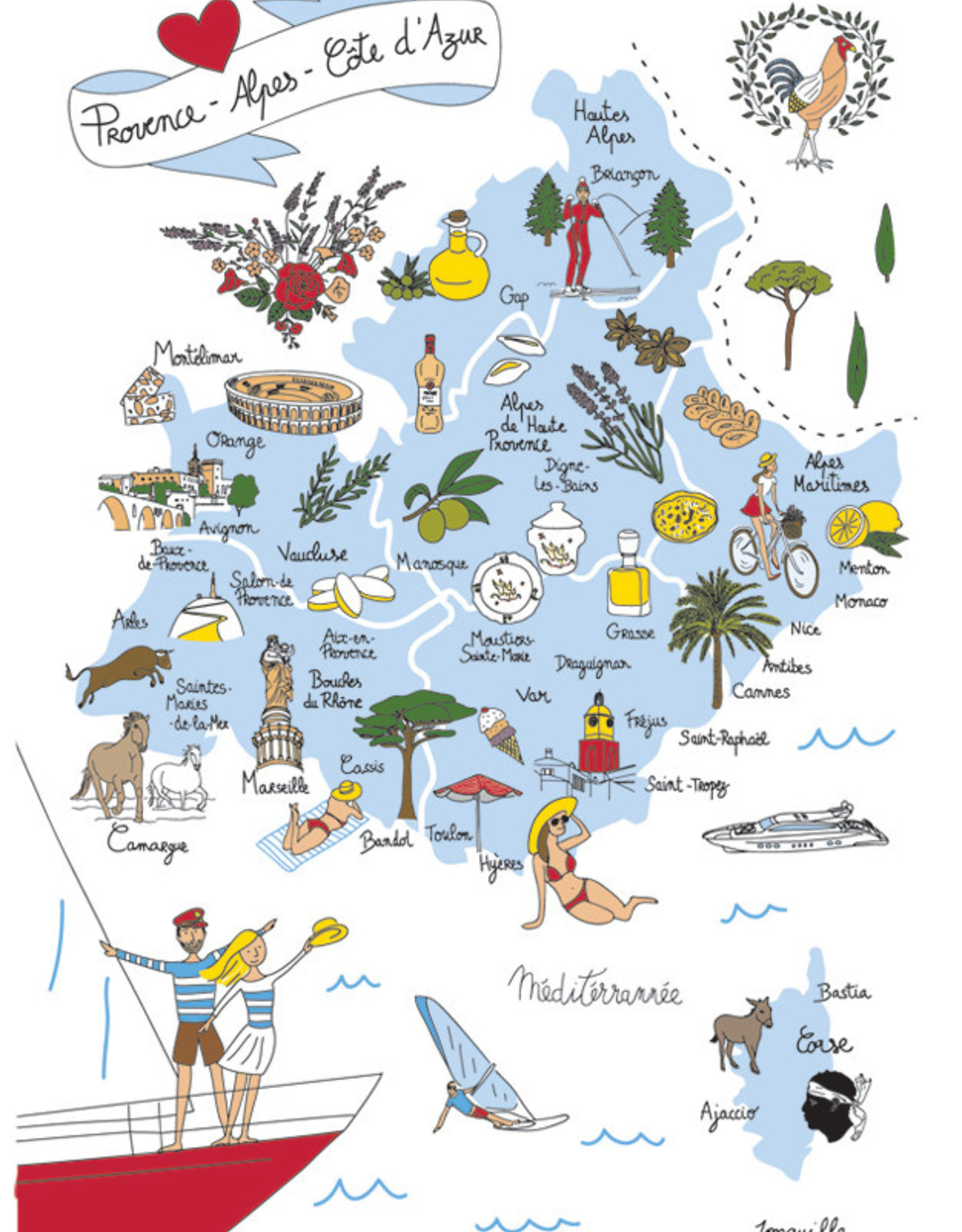 Provence Map Dish Towel