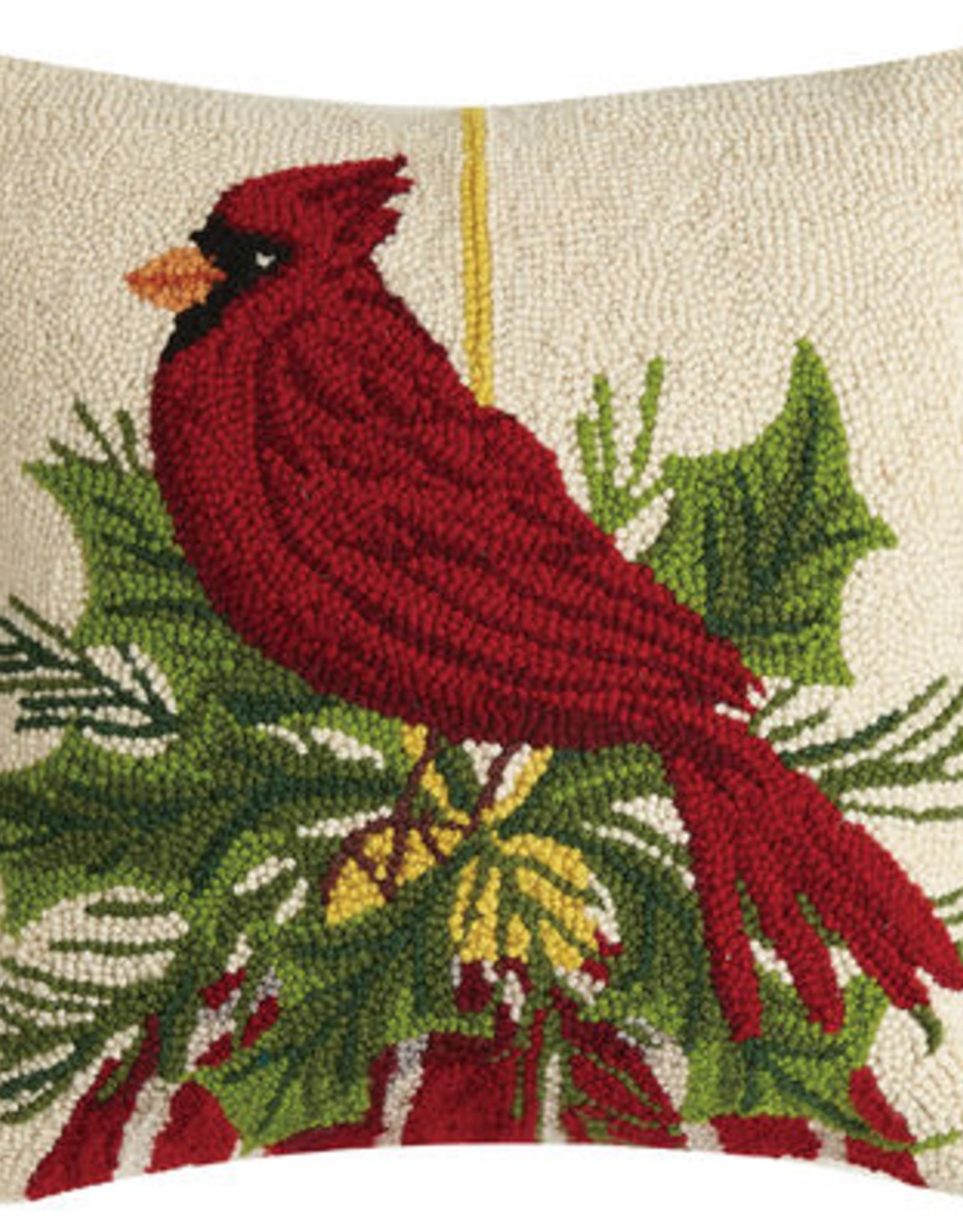"Cardinal Resting on Ornament Hook Pillow - 18"" x 18"""