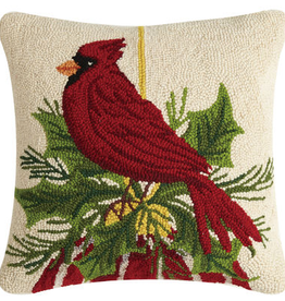 "Cardinal Resting on Ornament Hook Pillow - 18"" x 18"""