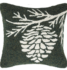 "Pinecone Hook Pillow - 16"" x 16"""