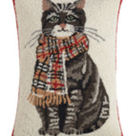"Cat with Plaid Scarf Hook Pillow - 14"" x 22"""