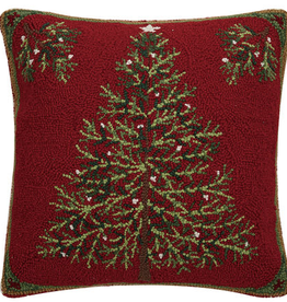 "Holiday Pine Hook Pillow - 18"" x 18"""
