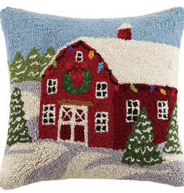"Winter Barn Hook Pillow - 16"" X 16"""