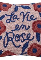 """La Vie en Rose w/flowers Hook Pillow - 16"""" x 16"""""""