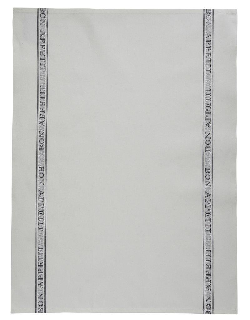 Bistro/Tea Towel - Bon Appetit Gray Cotton - Charvet Editions