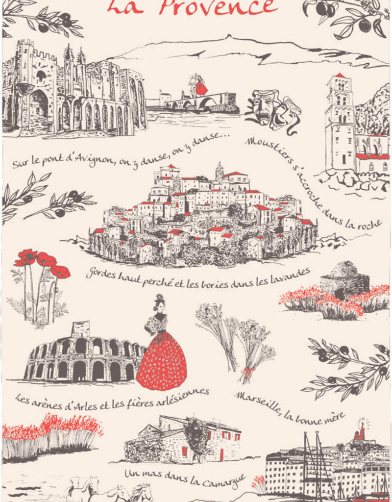 "42F ""La Provence"" Scenes of France Dish Towel"