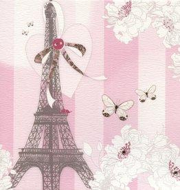 "Eiffel Towel/Pink Stripe/Swarovski Crystal Greeting Card - 6"" x 6"""