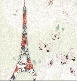 "Eiffel Towel Butterflies/Swarovski Crystal Greeting Card - 6"" x 6"""