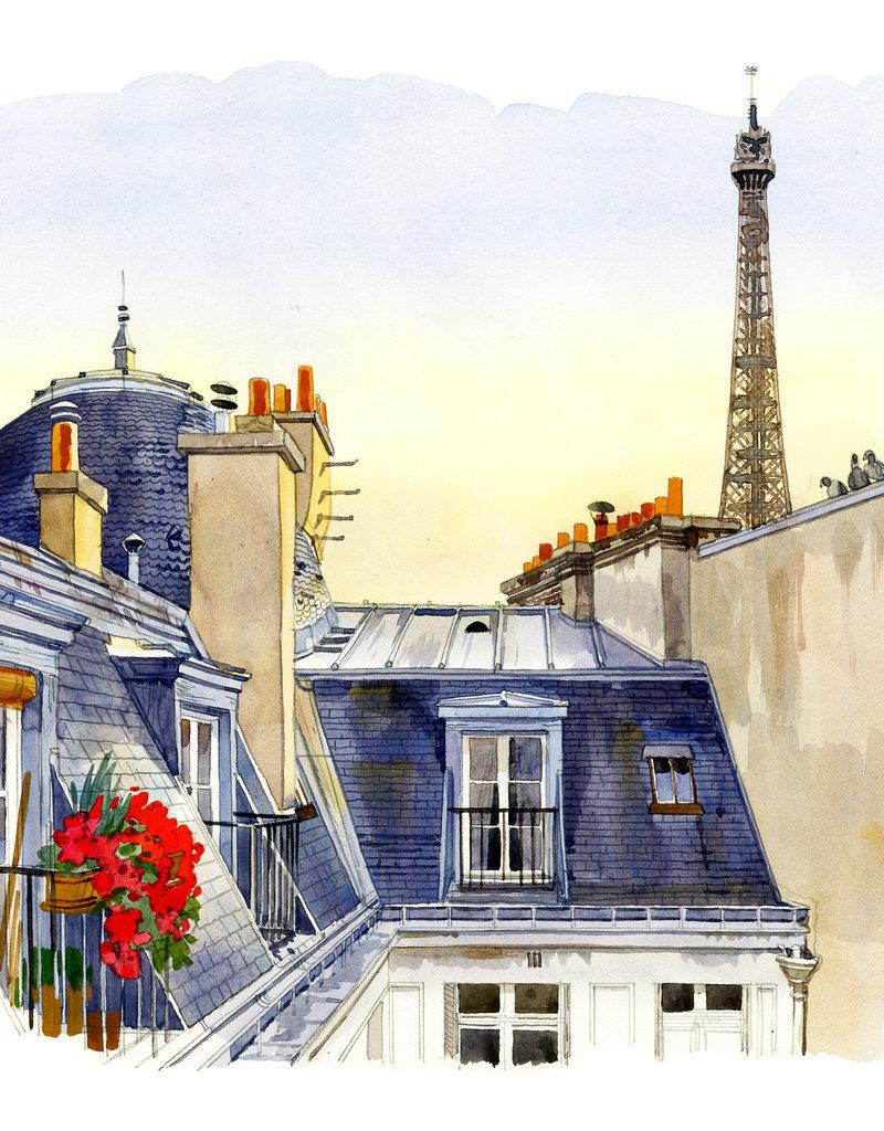 """PGC La Tour Eiffel vue des toits de la rue Greuze Greeting Card - 6"""" x 6"""""""