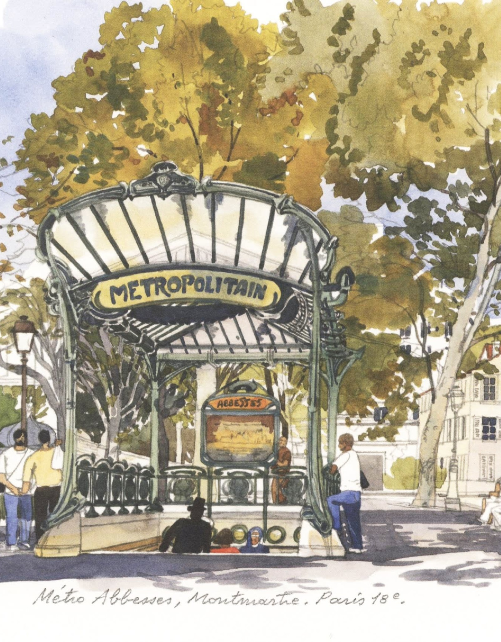 "PGC Metro Abbesses Montmartre Greeting Card - 6"" x 6"""